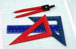 El estudio de la geometría equipa horizontal fotografía de archivo