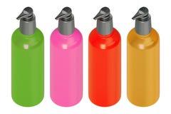 el estudio de la representación 3d tiró un sistema de verde de botella multicolor del skincare, rosado, rojo, amarillo aislado en imagenes de archivo