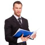 El estudio tiró de un hombre de negocios en el fondo blanco imagen de archivo