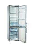 El estudio tiró el refrigerador grande del acero inoxidable aislado en blanco Imagen de archivo libre de regalías
