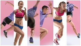 El estudio tirado de atleta del salto de altura está en la acción Fotografía de archivo