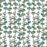El eucalipto sale del modelo Fondo inconsútil del vector para el diseño de la materia textil o la impresión interior libre illustration