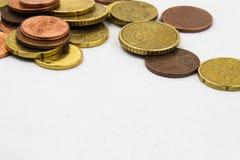 El euro acuña el marco del fondo Foto de archivo libre de regalías