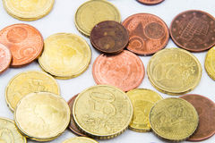 El euro acuña el marco del fondo Fotos de archivo libres de regalías