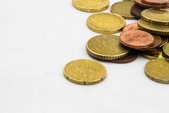 El euro acuña el marco del fondo Imágenes de archivo libres de regalías