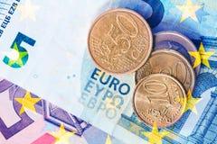 El euro acuña la visión superior Foto de archivo