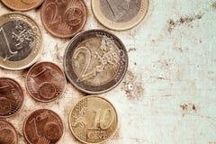 El euro acuña moneda en fondo de la lona Imagen de archivo libre de regalías
