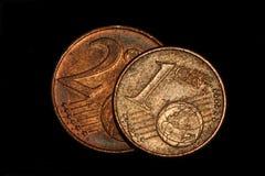 El euro acuña el primer del dinero fotos de archivo