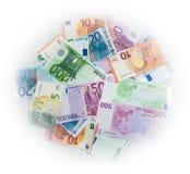 El euro carga en cuenta el dinero euro de los billetes de banco Moneda de la unión europea Imágenes de archivo libres de regalías