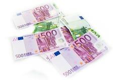 El euro carga en cuenta el dinero euro de los billetes de banco Moneda de la unión europea Imagen de archivo libre de regalías