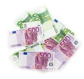 El euro carga en cuenta el dinero euro de los billetes de banco Moneda de la unión europea Fotografía de archivo