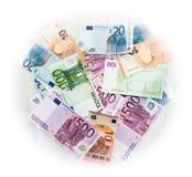 El euro carga en cuenta el dinero euro de los billetes de banco Moneda de la unión europea Foto de archivo libre de regalías