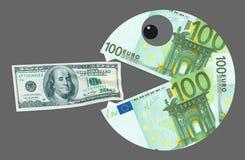 El euro come el dólar Foto de archivo libre de regalías