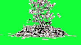 El euro está cayendo Animación realista Cantidad verde de la pantalla libre illustration