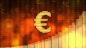 El euro que sube en el fondo rojo, moneda gana el valor, crisis financiera evitada stock de ilustración