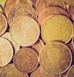 El euro retro de la mirada acuña el fondo Fotografía de archivo