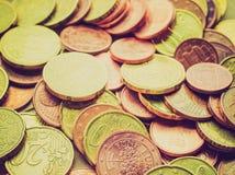 El euro retro de la mirada acuña el fondo Foto de archivo libre de regalías