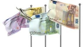 El euro señala la animación por medio de una bandera 3d Imagen de archivo libre de regalías