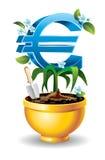 El euro se está levantando en el crisol de flor de oro Fotografía de archivo libre de regalías