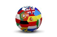 El euro señala la bola por medio de una bandera Fotografía de archivo
