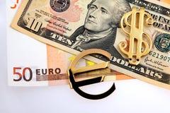 El euro y los dólares del dinero Foto de archivo libre de regalías