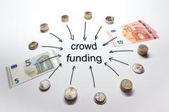 El europeo de financiamiento de la muchedumbre acuña billetes de banco Imagen de archivo libre de regalías