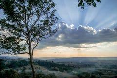 El evenning tiene fondo de la naturaleza de la puesta del sol Foto de archivo