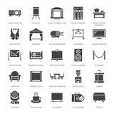 El evento suministra iconos planos del glyph Equipo del partido - efectúe las construcciones, proyector visual, puntal, flipchart libre illustration