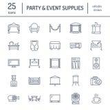 El evento suministra la línea plana iconos Equipo del partido - efectúe las construcciones, proyector visual, puntal, flipchart,  stock de ilustración
