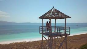 El examinar aéreo de la playa con la arena rosada, océano azul brillante, los dos amigos está en el soporte de la playa, almacen de video