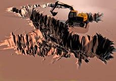 El excavador desentierra un campo fangoso y crea Italia Foto de archivo