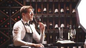 El experto del vino sostiene una copa de vino, miradas en el tinte y huele el sabor, degustating almacen de video