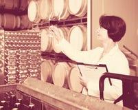 El experto estima calidad del vino rojo en lagar imagen de archivo