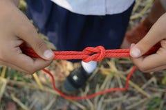El explorador está atando el nudo de filón y x28; Cuadrado Knot& x29; imágenes de archivo libres de regalías