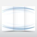 El extracto azul del folleto del diseño del diseño de papel triple en blanco de la plantilla agita Imagen de archivo