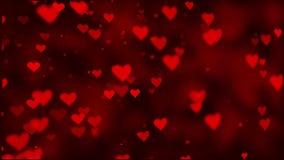 El extracto encima del corazón que vuela corazones rosados sube en un fondo oscuro del movimiento ilustración del vector