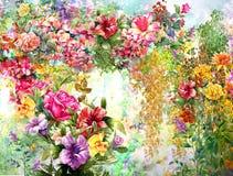 El extracto florece la pintura de la acuarela Flores multicoloras de la primavera Fotografía de archivo libre de regalías