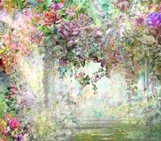 El extracto florece la pintura de la acuarela Illustrstion multicolor de las flores de la primavera Foto de archivo