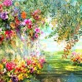 El extracto florece la pintura de la acuarela Primavera multicolora Fotografía de archivo libre de regalías
