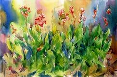 El extracto florece la pintura de la acuarela Primavera multicolora Imagen de archivo