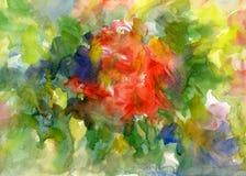 El extracto florece la pintura de la acuarela Primavera multicolora Foto de archivo