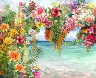 El extracto florece la pintura de la acuarela Primavera multicolora cerca del mar Foto de archivo