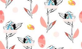 El extracto hecho a mano texturizó el modelo inconsútil del collage creativo de moda con adorno floral en el fondo blanco con Imagen de archivo