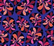 El extracto inspirado africano sale del modelo inconsútil coralino anaranjado rojo negro azul púrpura Azul, púrpura, rosado, melo ilustración del vector