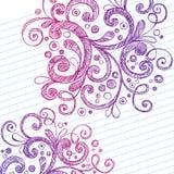 El extracto remolina los Doodles incompletos del cuaderno Foto de archivo