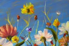 El extracto rojo, amarillo, azul, púrpura florece el ejemplo Pintura macra del impasto Ilustraciones del cuchillo de paleta Impre stock de ilustración