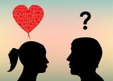 El extracto siluetea amor de las mujeres y de los hombres Imagen de archivo