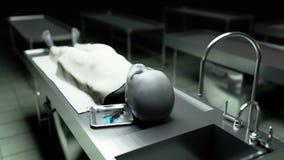 El extranjero muerto en el depósito de cadáveres en la tabla Concepto futurista de la autopsia cantidad cinemática 4k libre illustration