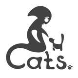 El extranjero resuelve con el gato ilustración del vector