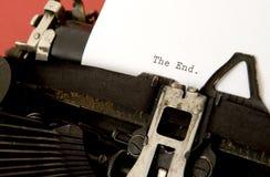 EL EXTREMO en typewritter Foto de archivo